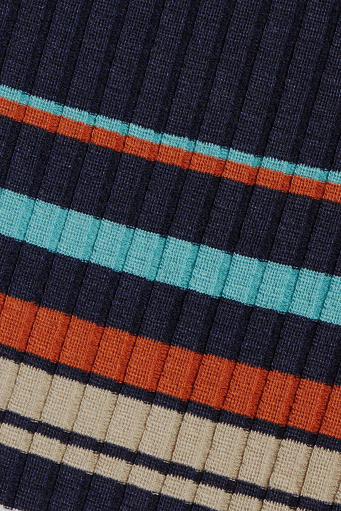 Gestreepte longsleeve van geribde jersey, NAVY, detail image number 4