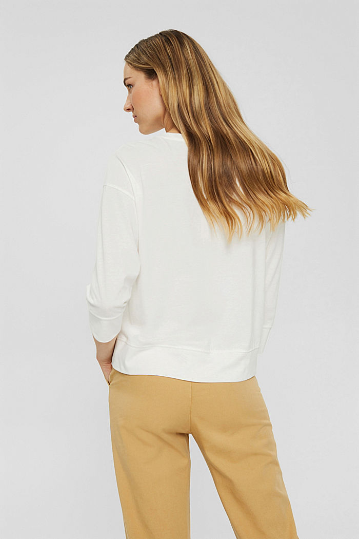 Soft long sleeve top made of 100% organic cotton, OFF WHITE, detail image number 3
