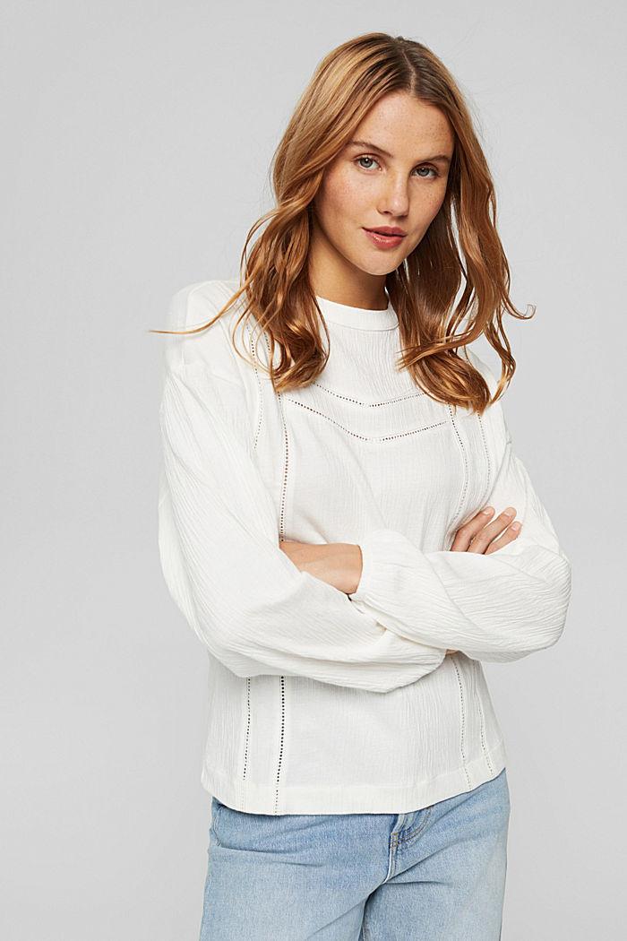 Crinkled blouse met opengewerkt borduursel, mix met biologisch katoen, OFF WHITE, detail image number 0