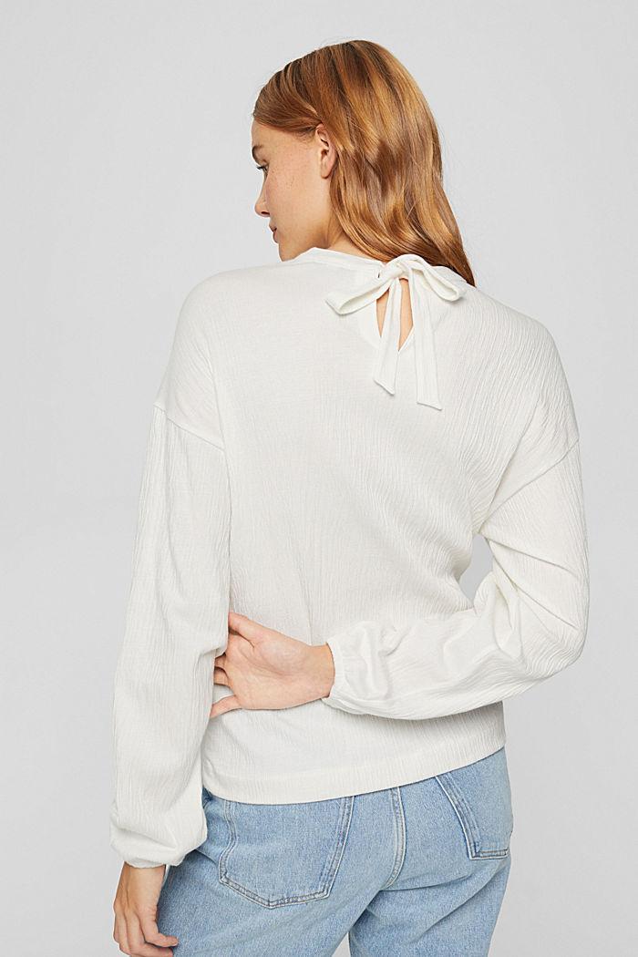 Crinkled blouse met opengewerkt borduursel, mix met biologisch katoen, OFF WHITE, detail image number 3