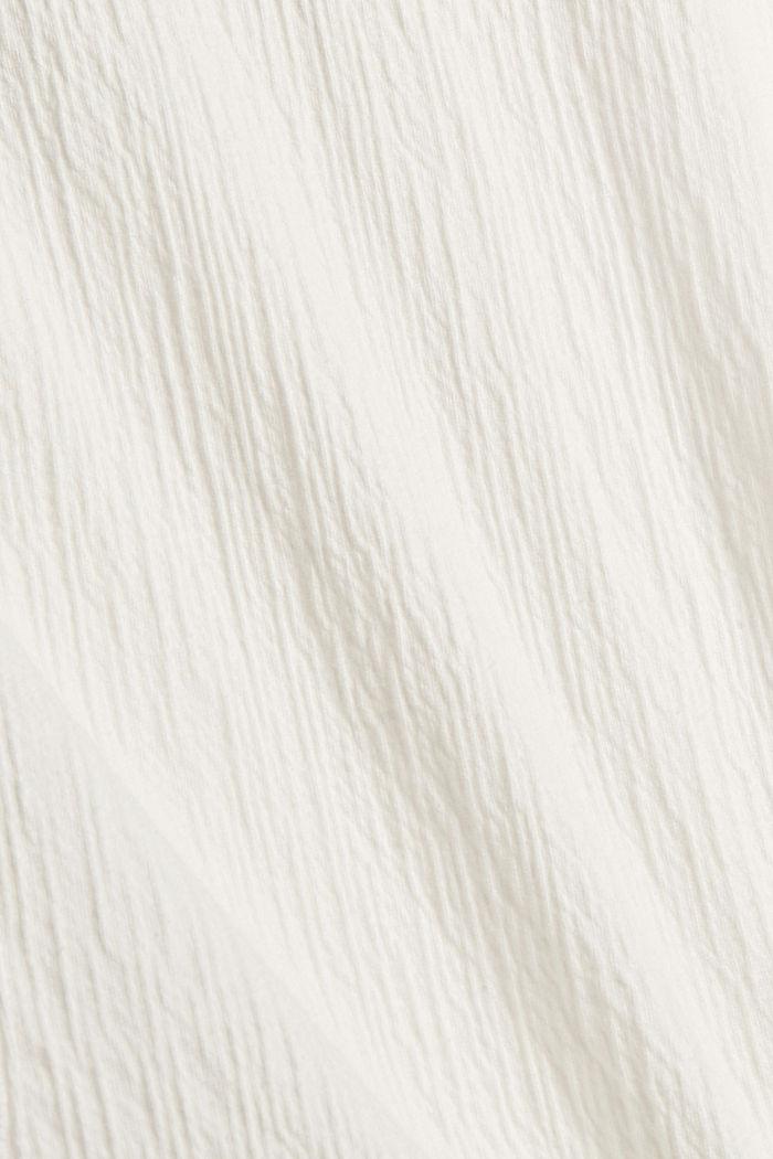 Crinkled blouse met opengewerkt borduursel, mix met biologisch katoen, OFF WHITE, detail image number 4
