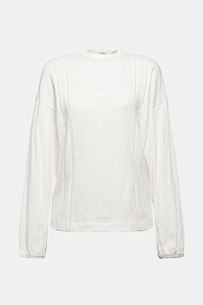 Crinkled blouse met opengewerkt borduursel, mix met biologisch katoen, OFF WHITE, detail image number 7