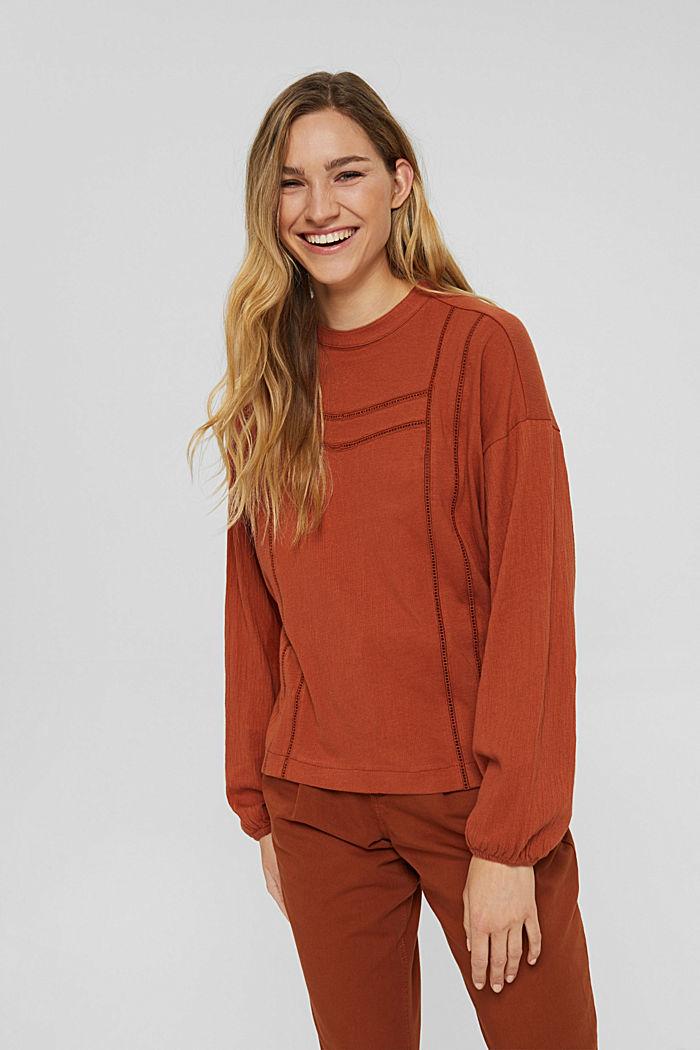 Crinkled blouse met opengewerkt borduursel, mix met biologisch katoen, RUST ORANGE, detail image number 0