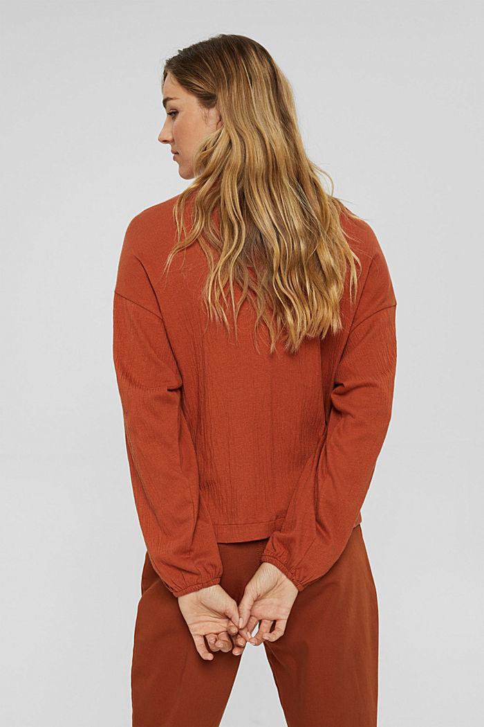 Crinkled blouse met opengewerkt borduursel, mix met biologisch katoen, RUST ORANGE, detail image number 3