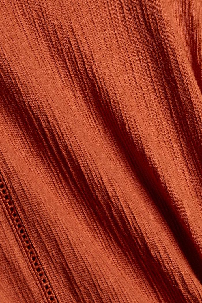 Crinkled blouse met opengewerkt borduursel, mix met biologisch katoen, RUST ORANGE, detail image number 4