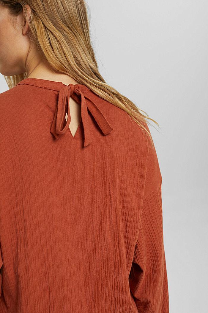 Crinkled blouse met opengewerkt borduursel, mix met biologisch katoen, RUST ORANGE, detail image number 5