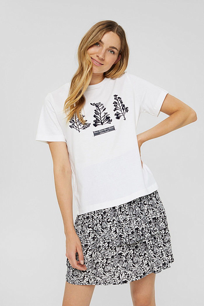 T-shirt with flock print, 100% organic cotton, WHITE, detail image number 0