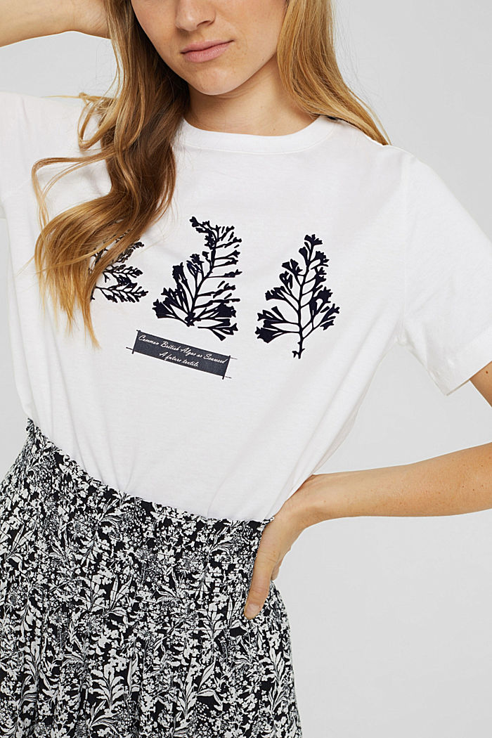 T-shirt with flock print, 100% organic cotton, WHITE, detail image number 2