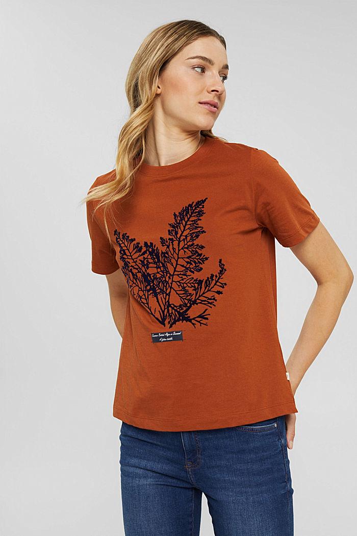 T-Shirt mit Flock-Print, 100% Bio-Baumwolle, RUST ORANGE, detail image number 0