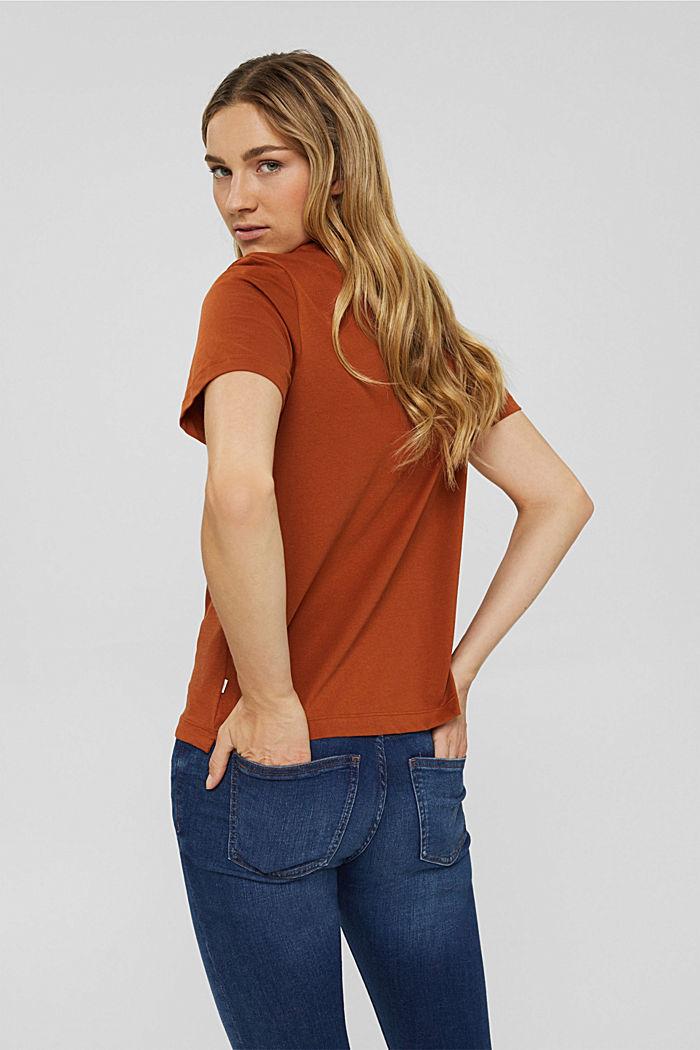 T-Shirt mit Flock-Print, 100% Bio-Baumwolle, RUST ORANGE, detail image number 3
