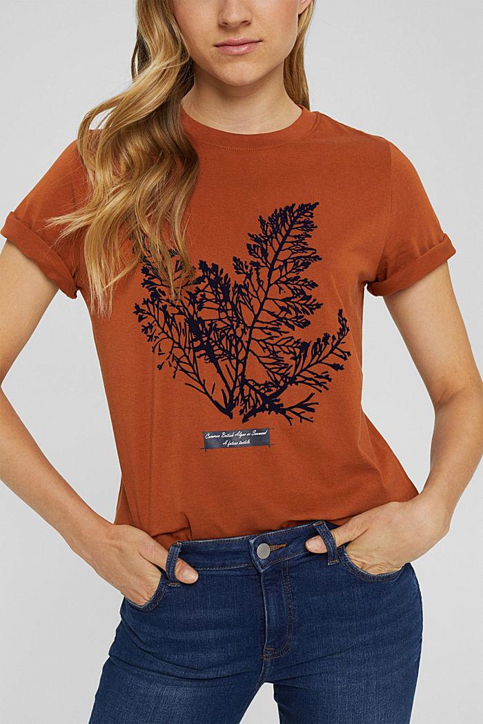 T-Shirt mit Flock-Print, 100% Bio-Baumwolle, RUST ORANGE, detail image number 2