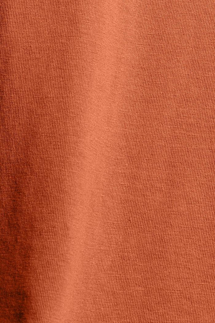 T-Shirt mit Flock-Print, 100% Bio-Baumwolle, RUST ORANGE, detail image number 4