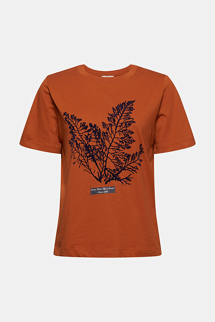 T-Shirt mit Flock-Print, 100% Bio-Baumwolle, RUST ORANGE, detail image number 5