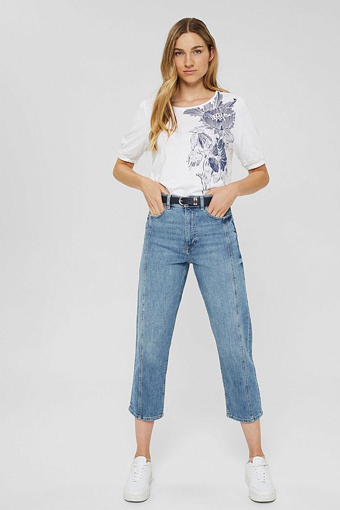 T-Shirt mit Ballonärmeln, 100% Bio-Baumwolle, WHITE, detail image number 1