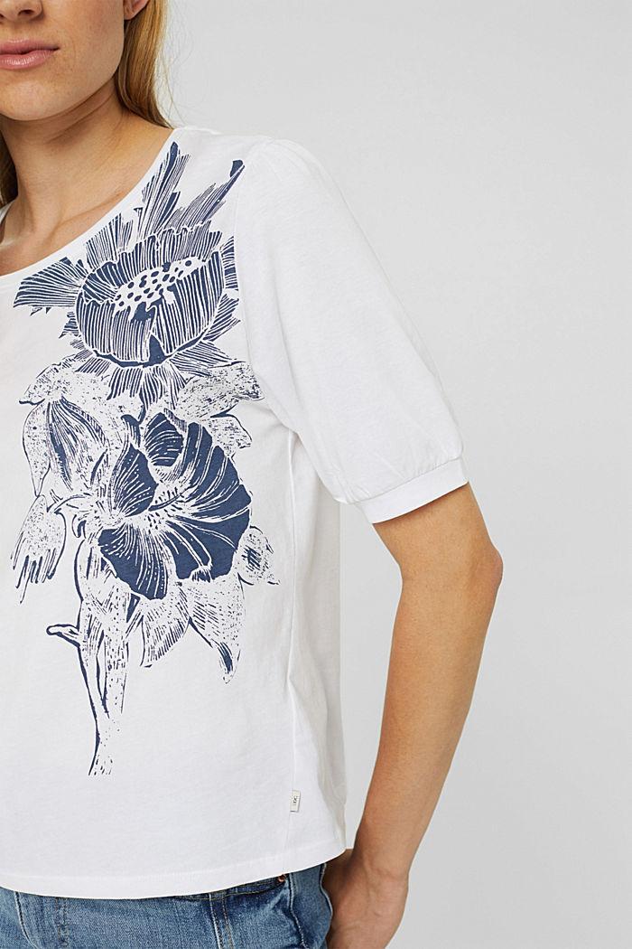 T-Shirt mit Ballonärmeln, 100% Bio-Baumwolle, WHITE, detail image number 2