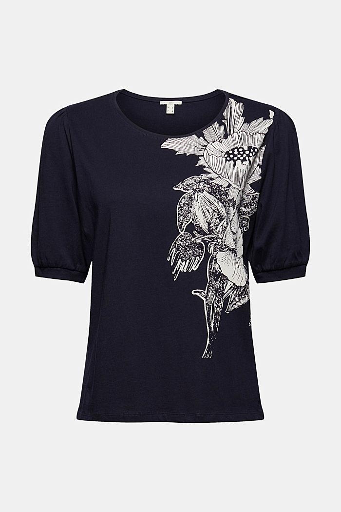 T-shirt met ballonmouwen, 100% biologisch katoen, NAVY, detail image number 6