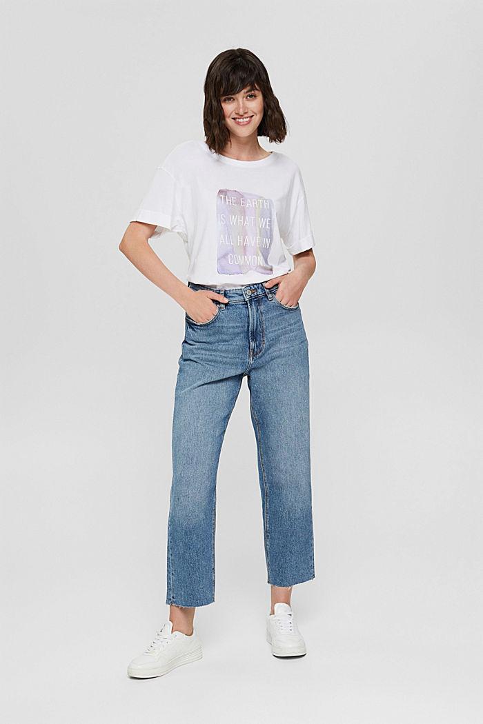 Printed T-shirt, 100% organic cotton, WHITE, detail image number 1