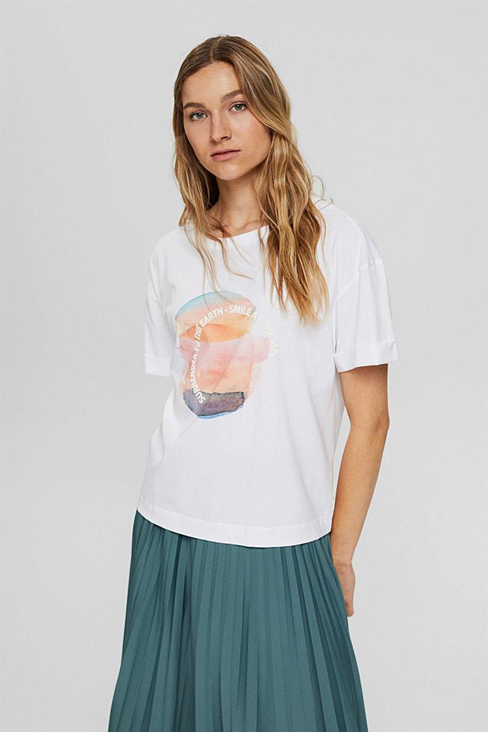 T-shirt met print, 100% organic cotton, NEW WHITE, detail image number 0