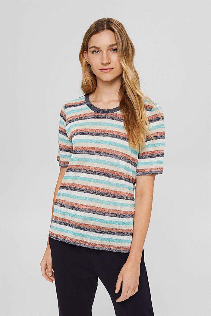 T-Shirt mit Streifen aus Bio-Baumwoll-Mix, NAVY, detail image number 0