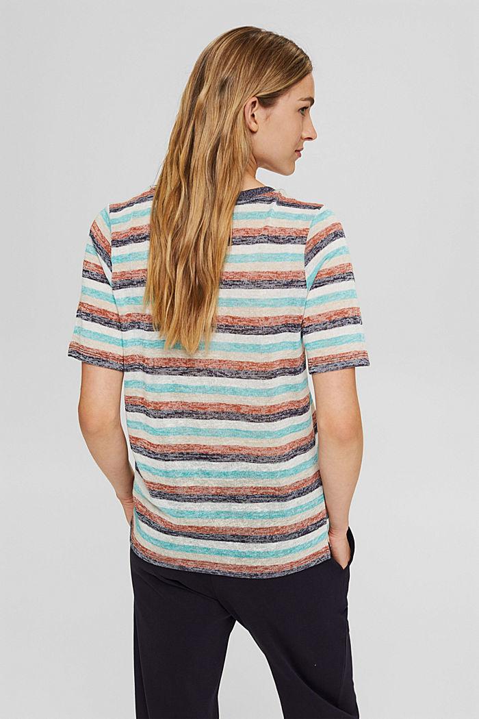 T-Shirt mit Streifen aus Bio-Baumwoll-Mix, NAVY, detail image number 3