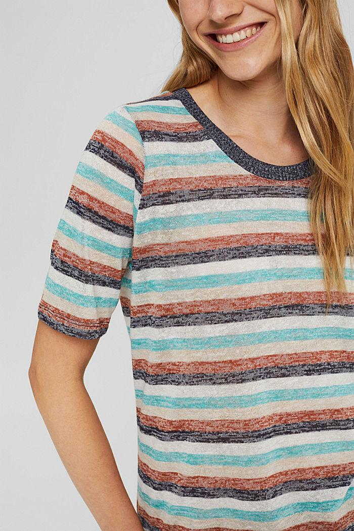 T-Shirt mit Streifen aus Bio-Baumwoll-Mix, NAVY, detail image number 2