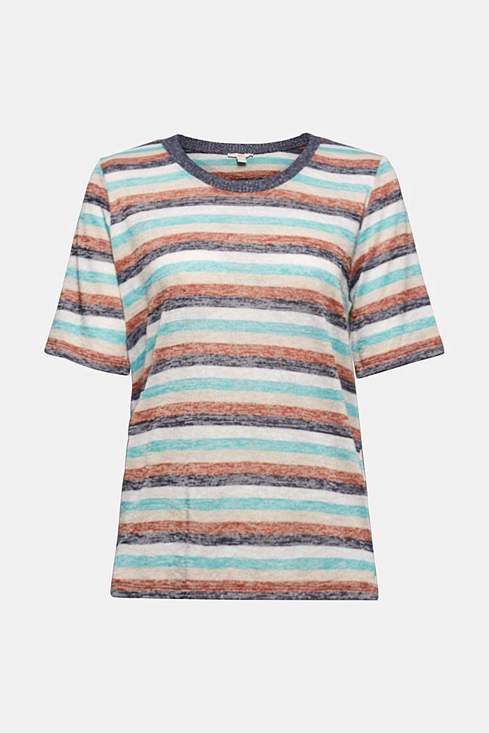 T-Shirt mit Streifen aus Bio-Baumwoll-Mix, NAVY, detail image number 6