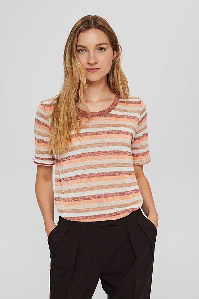 T-Shirt mit Streifen aus Bio-Baumwoll-Mix, RUST ORANGE, detail image number 0