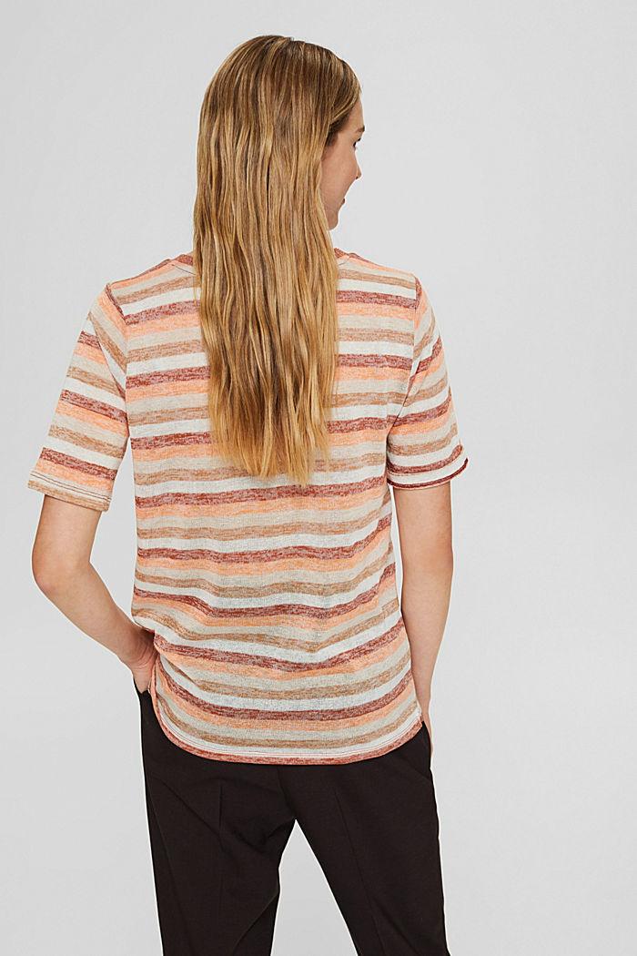 T-Shirt mit Streifen aus Bio-Baumwoll-Mix, RUST ORANGE, detail image number 3