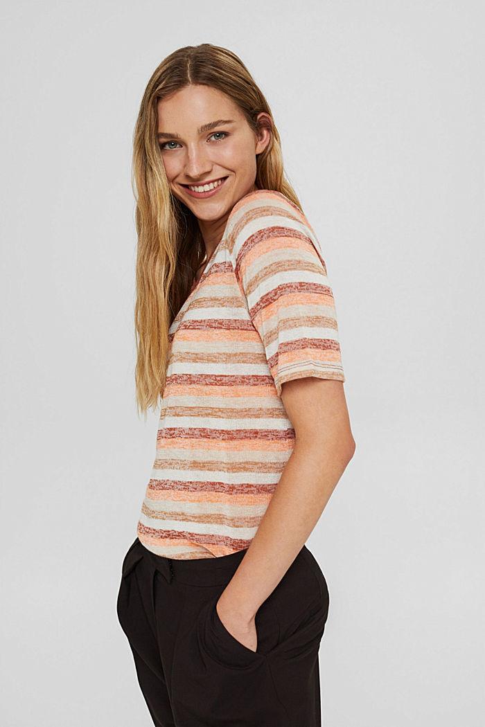 T-Shirt mit Streifen aus Bio-Baumwoll-Mix, RUST ORANGE, detail image number 5