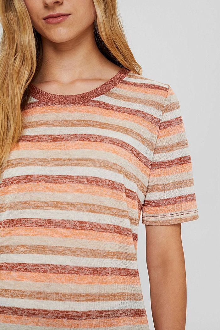 T-Shirt mit Streifen aus Bio-Baumwoll-Mix, RUST ORANGE, detail image number 2