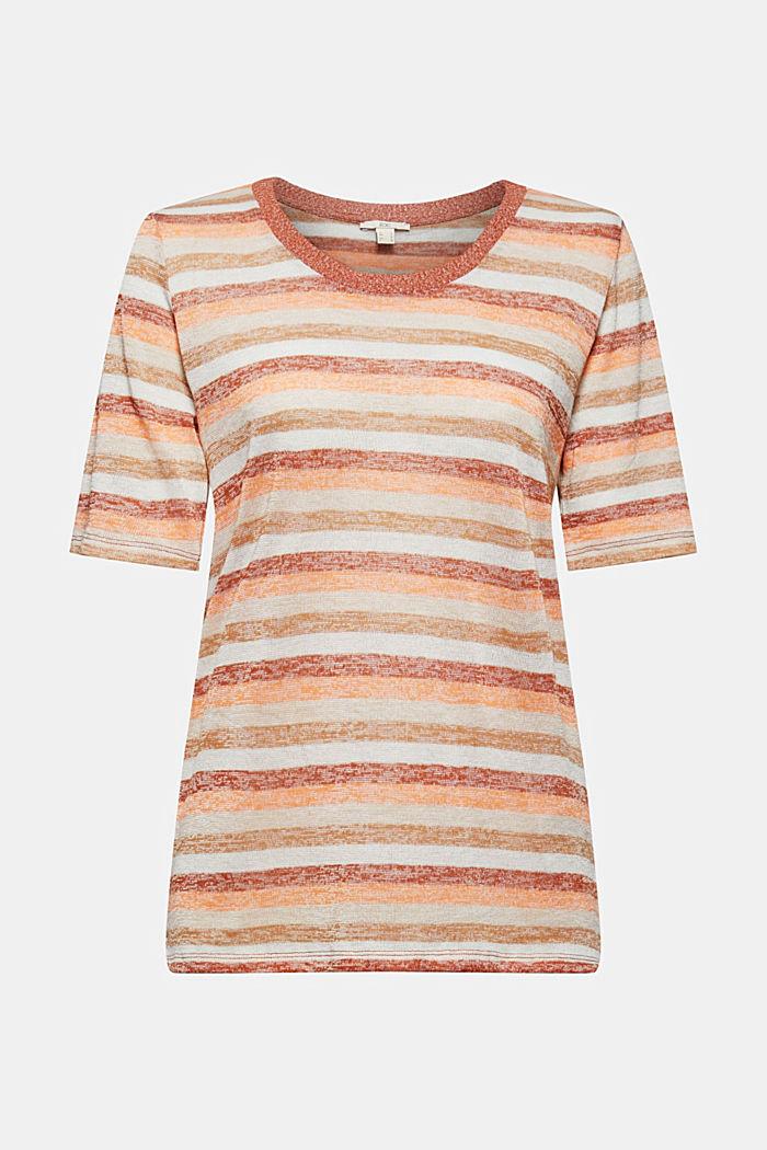 T-Shirt mit Streifen aus Bio-Baumwoll-Mix, RUST ORANGE, detail image number 6