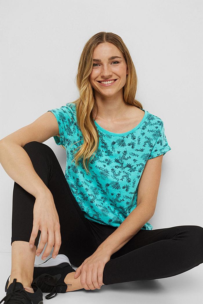 T-Shirt mit Print aus 100% Organic Cotton, AQUA GREEN, detail image number 0
