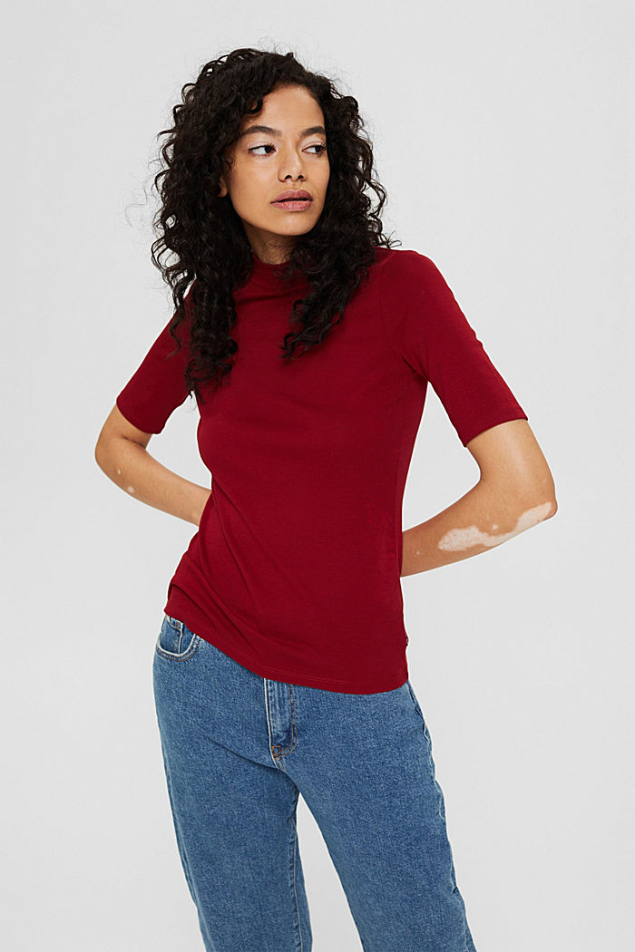 Basic top with a band collar, 100% organic cotton, DARK RED, detail image number 0