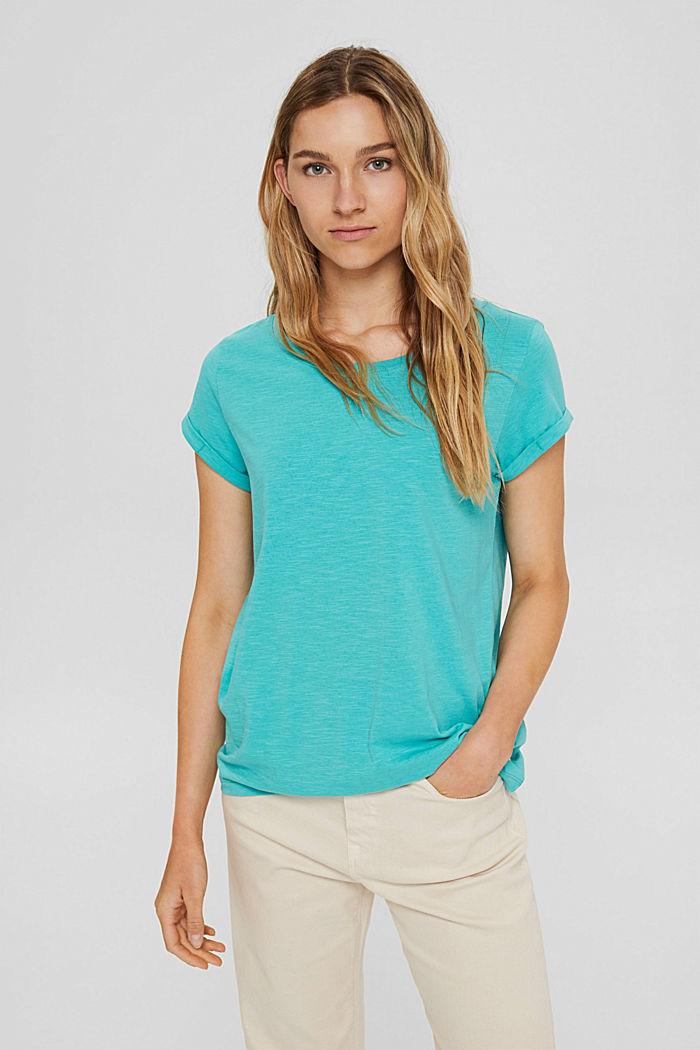 T-shirt van 100% organic cotton, AQUA GREEN, detail image number 0