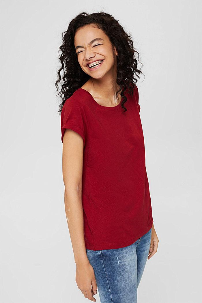 T-shirt 100 % coton biologique, DARK RED, detail image number 0