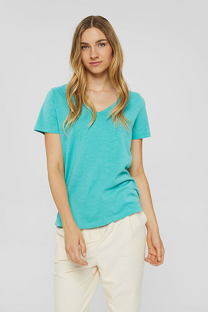V-neck T-shirt made of 100% organic cotton, AQUA GREEN, detail image number 0