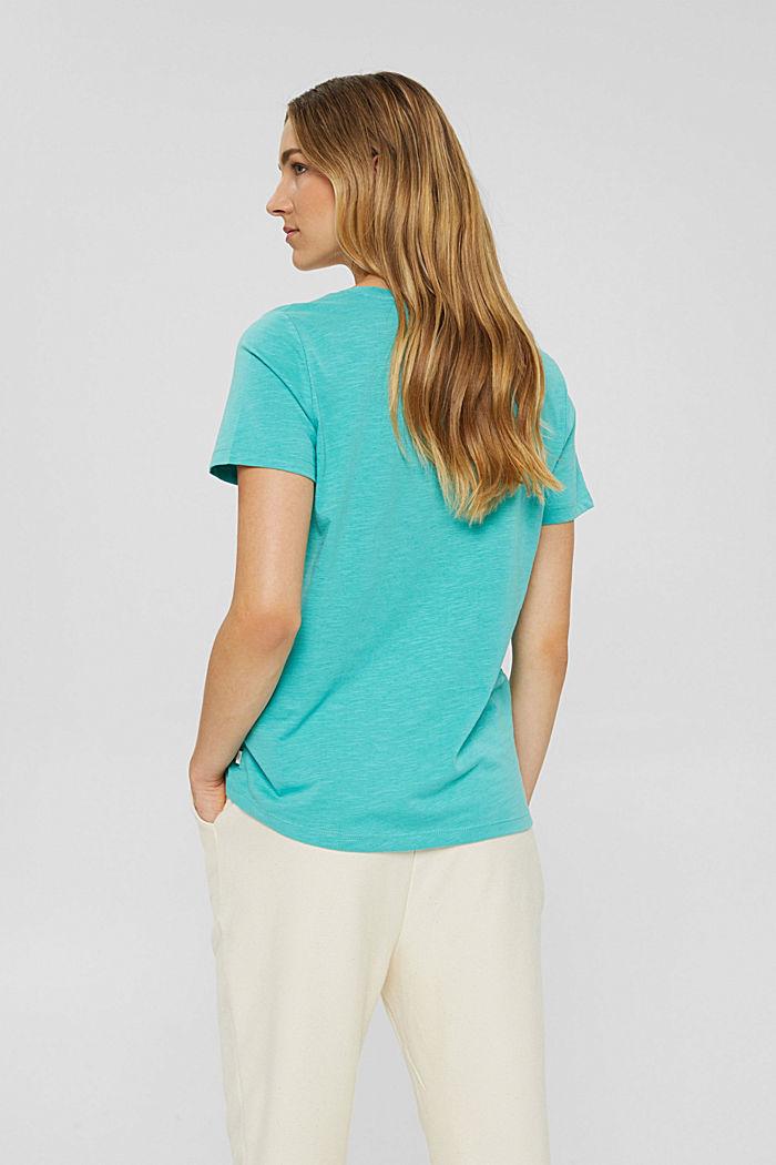 V-neck T-shirt made of 100% organic cotton, AQUA GREEN, detail image number 3