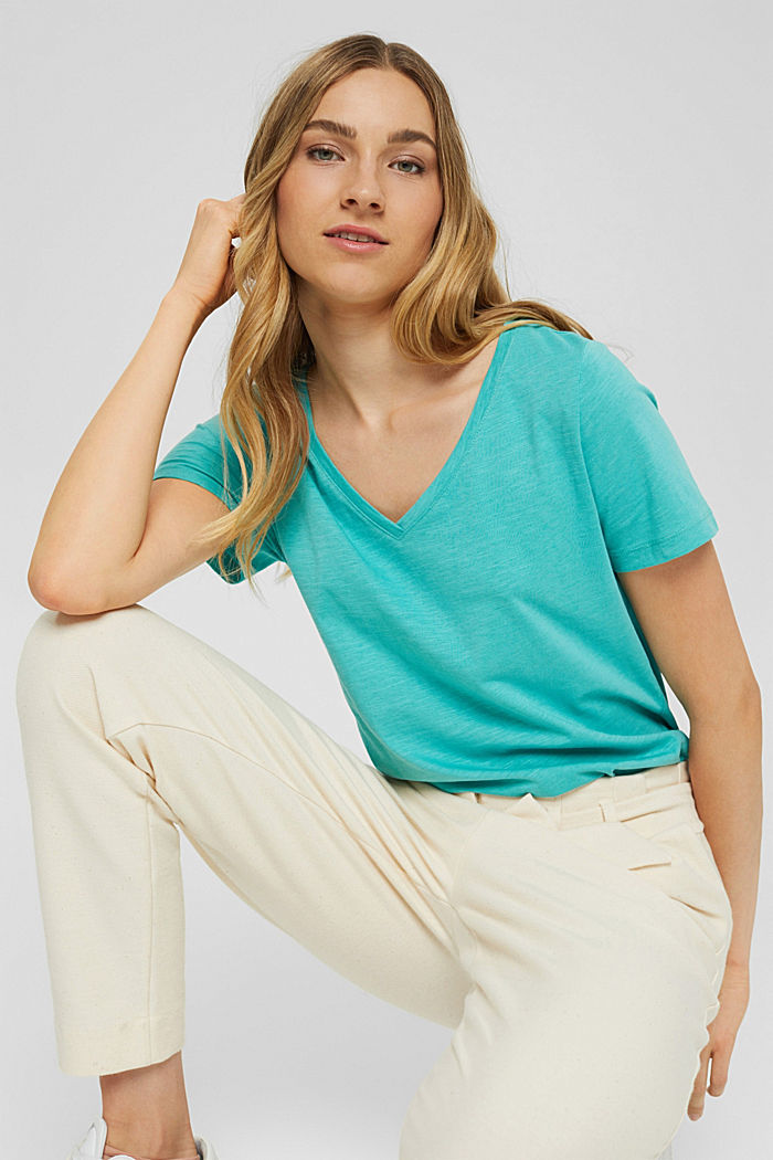 V-neck T-shirt made of 100% organic cotton, AQUA GREEN, detail image number 5