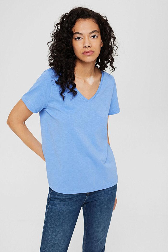 T-shirt met V-hals van 100% biologisch katoen, BRIGHT BLUE, detail image number 0