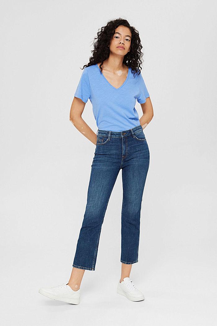 T-shirt met V-hals van 100% biologisch katoen, BRIGHT BLUE, detail image number 6