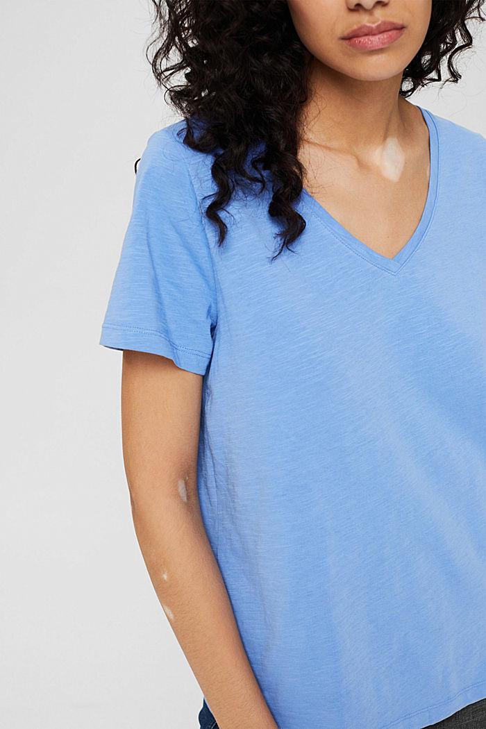 T-shirt met V-hals van 100% biologisch katoen, BRIGHT BLUE, detail image number 2
