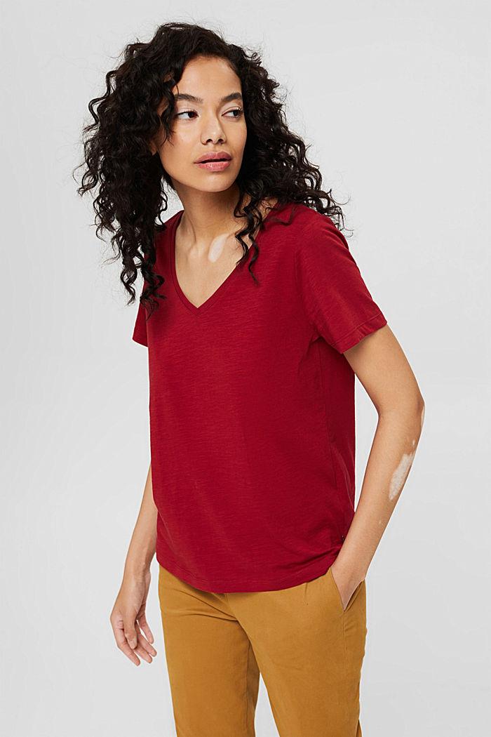 T-Shirt mit V-Neck aus 100% Organic Cotton, DARK RED, detail image number 0