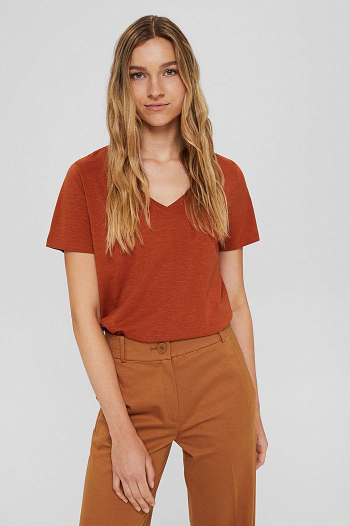 V-neck T-shirt made of 100% organic cotton, RUST ORANGE, detail image number 0