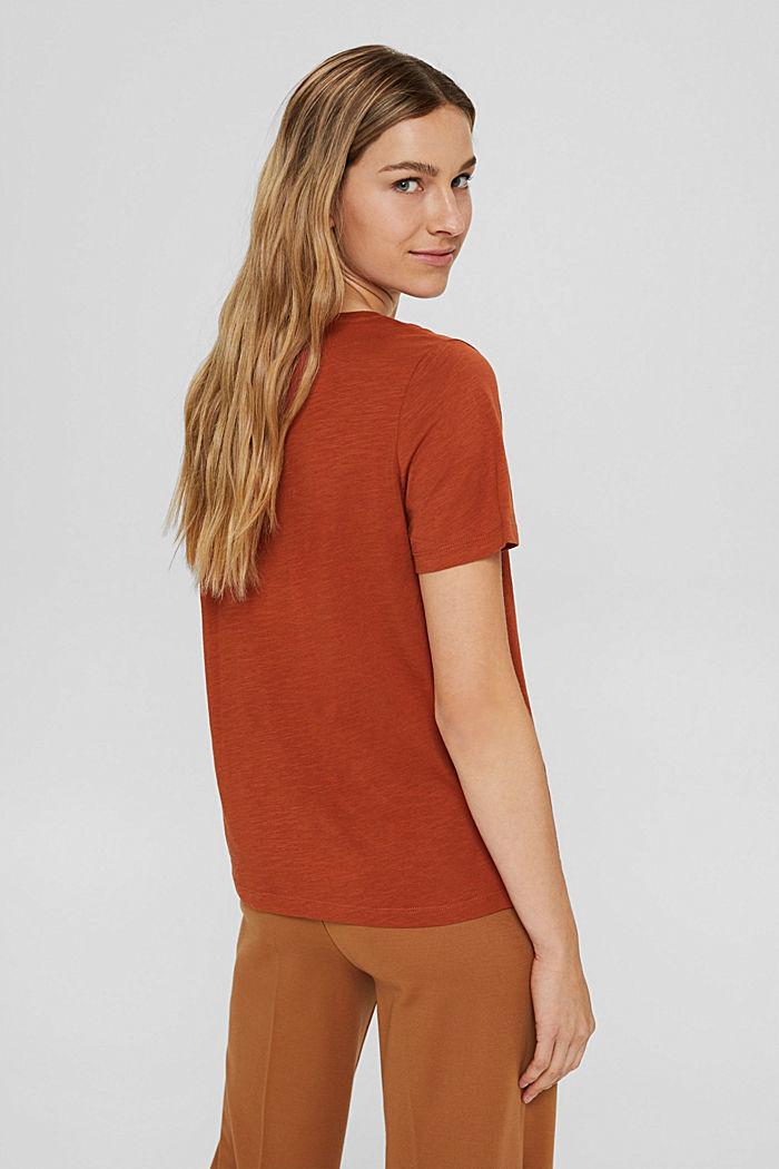 V-neck T-shirt made of 100% organic cotton, RUST ORANGE, detail image number 3