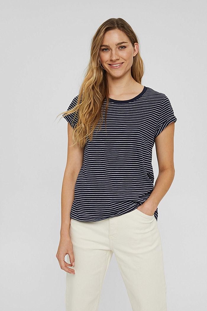 Striped T-shirt made of 100% organic cotton, NAVY, detail image number 0