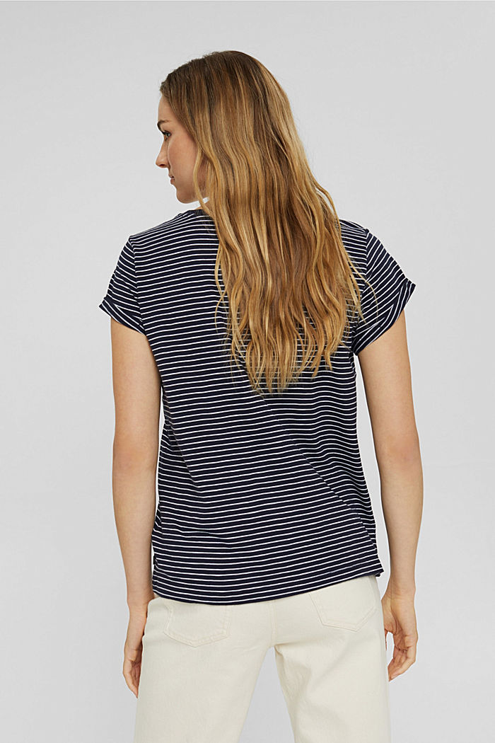 Striped T-shirt made of 100% organic cotton, NAVY, detail image number 3