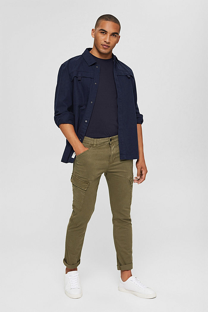 Stretch cotton cargo trousers, KHAKI GREEN, detail image number 1