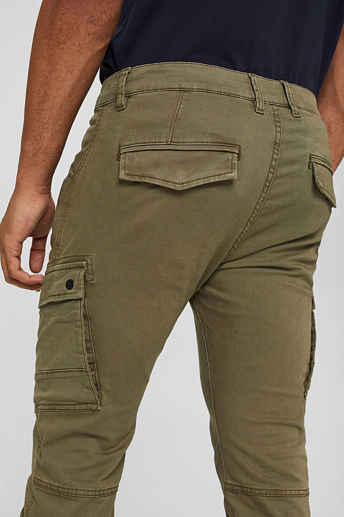 Stretch cotton cargo trousers, KHAKI GREEN, detail image number 5