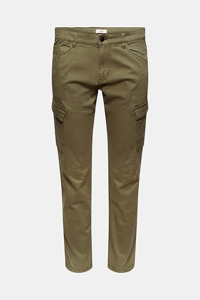 Stretch cotton cargo trousers, KHAKI GREEN, detail image number 6