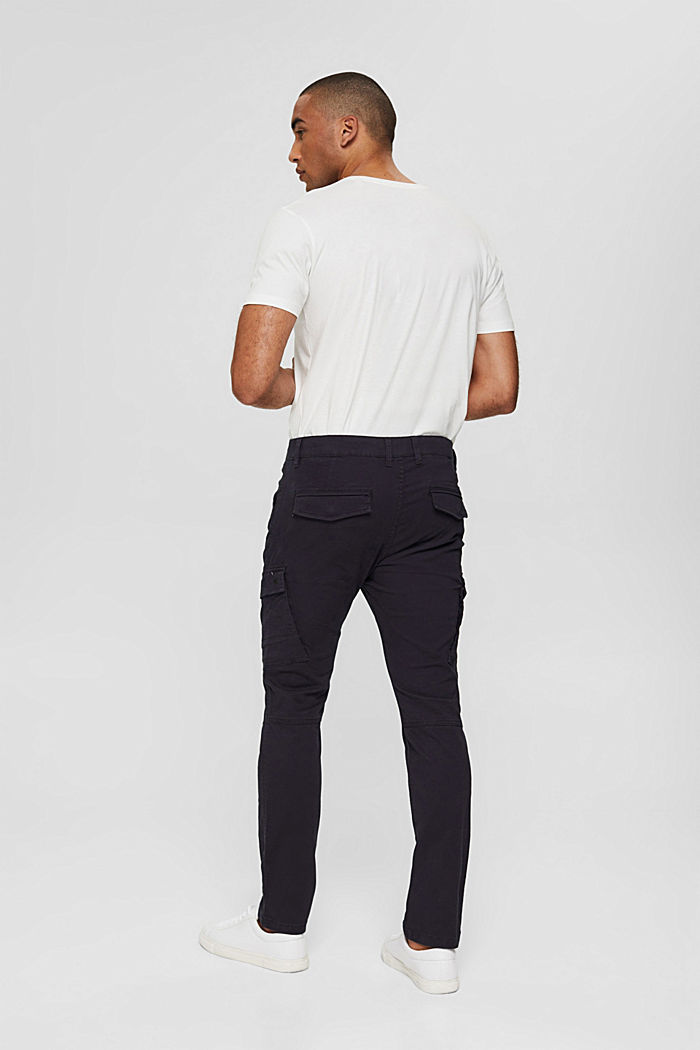Stretch cotton cargo trousers, DARK BLUE, detail image number 3
